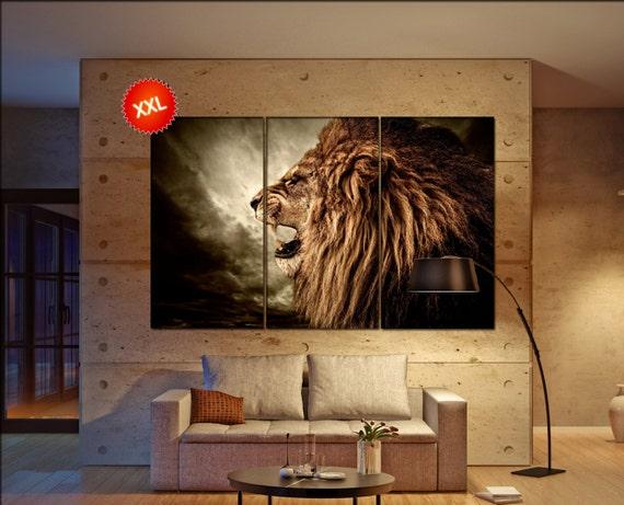 lion decor wall art print prints on canvas roaring lion. Black Bedroom Furniture Sets. Home Design Ideas