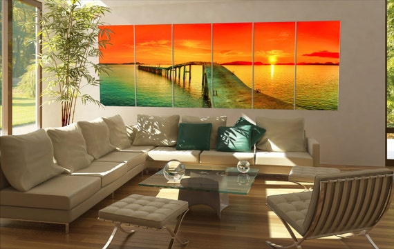 Large sunset sea  canvas Large sunset sea wall decoration Large sunset sea canvas art Large sunset sea large canvas