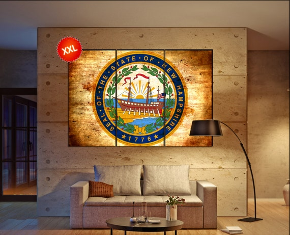 new hampshire seal flag  canvas new hampshire seal flag  wall decoration new hampshire seal flag  canvas art large canvas