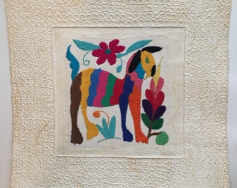 Handmade Amate Paper Wall Art with Otomi embroidery