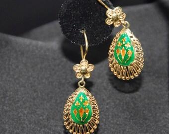 Enamel and 14K gold dangle earrings