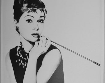 "Audrey Hepburn Art Pencil Drawing print signed by artist 12""x18"""