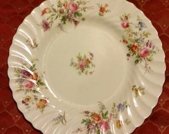 Fine English China Dinner Ware Minton England Victorian Floral Marlow Pattern Older Pink Globe Backstamp Set 2 Salad Plates