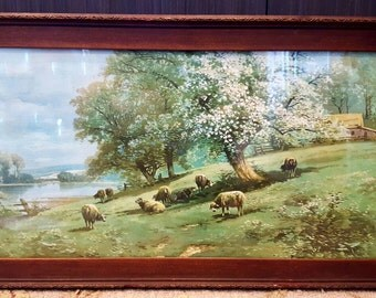 1920s Framed Victorian Spring Pastoral Landscape Color Lithograph Print Sheep by Blossoming Trees