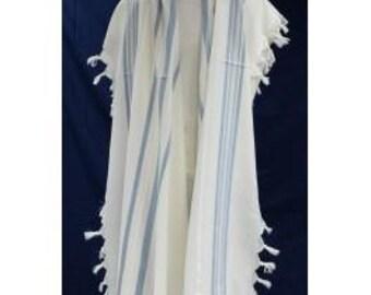 uniq tallit, jewish prayer shawl,White on blue touches of silver, 100 wool,4 size available