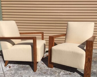Pair Of Mid-Century Modern Lounge Chairs With Wood Arms That Wrap Around The Back Side Of The Chair.