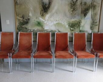 Set Of Six Pierre Cardin Mid-Century Modern Chrome Dining Chairs.