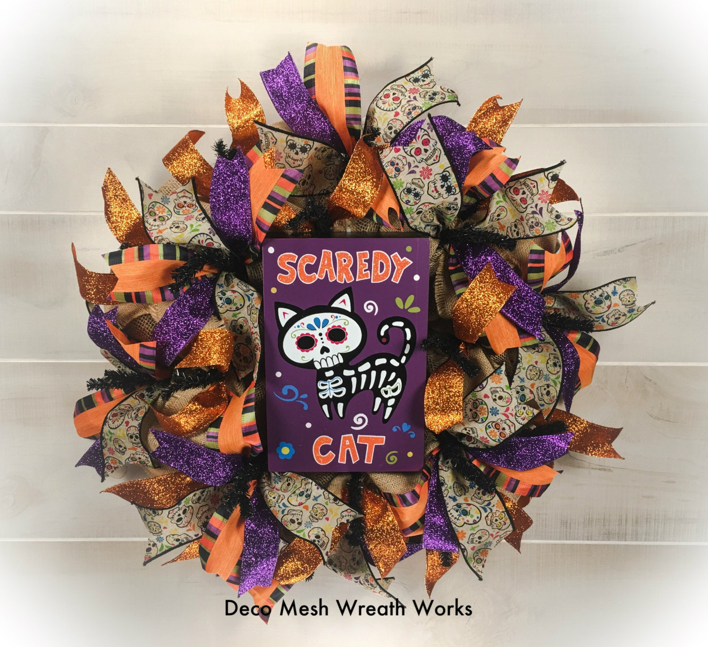 Sugar Skull Wreath Day of the Dead Wreath Cat Wreath