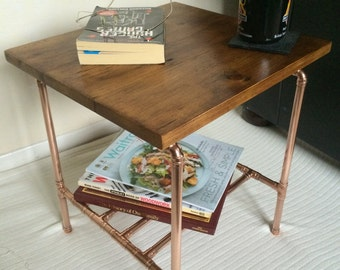 Table - Copper and Reclaimed Wood End/Side Table - Industrial Style
