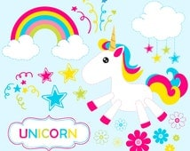 80% OFF SALE Baby Unicorn clipart commercial use, unicorns vector graphics, rainbow digital clip art, digital images - JK0408