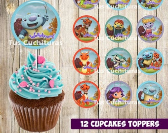 12 Wallykazam Cupcakes Toppers instant download, Printable Wallykazam party cupcakes Topper, Wallykazam toppers, 2 INCHES