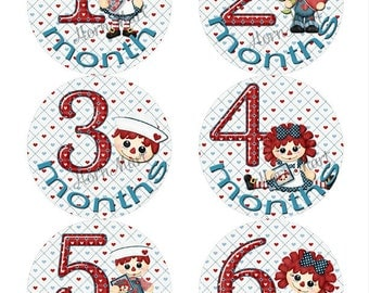 Rag Doll Theme Baby Monthly Stickers