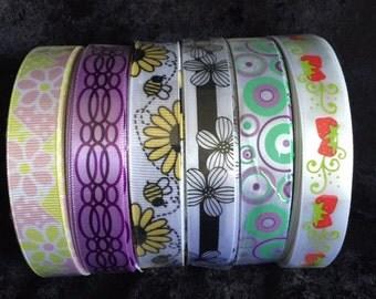 Set of 6 ribbons 5/8in x 3yd each  024
