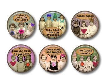 Funny Magnets, Funny Fridge Magnets, Fridge Magnets, Kitchen Magnets, Button Magnets, Fridge Magnet Set, Cute Fridge Magnets