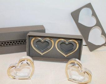 Gold napkin rings in beautiful handmade gift box, Napkin rings in gold heart, Mother's day gift ideas, Wedding gift, Birthday party, Set 6