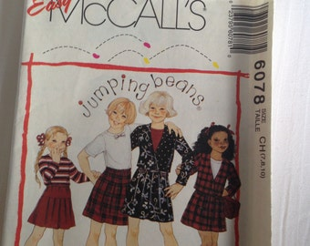 Girls Size 7,8,10 Jacket, Pleated Skirt McCalls #6078 Easy Sew Pattern