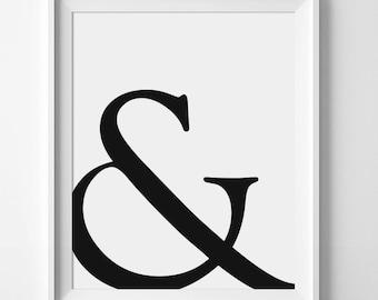 Modern Black Decor, Ampersand Wall Art, Office Decor, Office Print, Office Poster, Black Wall Decor, Printable Poster, Black And White Art