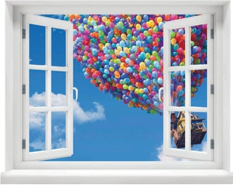 Window with a View Disney Up House and Balloons