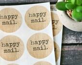 Burlap Happy Mail Stickers/Seals - Set of 12,  happy mail, stickers, burlap, seals, round stickers, packaging, paper goods, labels