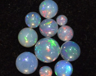 3.5-8 mm Round Natural Play Welo Fire ETHIOPIAN opal cabochon AAA quality beautiful rainbow color 6.30 cts. 11 pic. of lots for jewelry