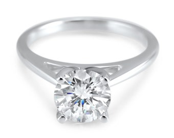 14k White Gold CZ Cubic Zironia round cathedral solitaire engagement ring 14k white gold - dome ring - wedding 1 CTW Round dome ring, bridal