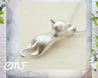 Cat Necklace 925 Sterling Silver Necklace Cat Pendant