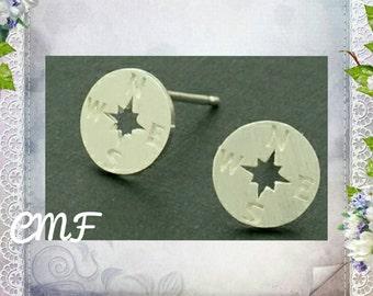 Compass Earrings 925 Sterling Silver Earrings Stud Earrings