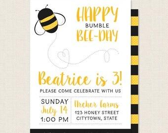 Happy Bumble Bee Day Invitation  - Honey Bee Birthday Party Invite - Printable Kids Birthday Invitation - Sophisticute Paperie
