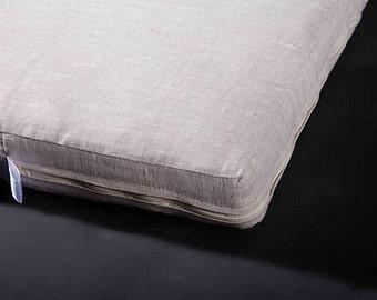 Flax topper mattress, Linen mattress for adult, Eco mattress, organic mattress for bed, from 70x190x4cm or 75x27.5x1.6 inches, top - linen