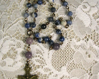 Anglican Prayer Beads-Small-Rosary-Blue Sodalite-Hand Wired