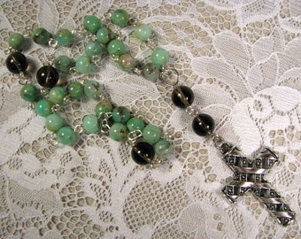 Anglican Prayer Beads-Rosary-chrysoprase-Hand Wired