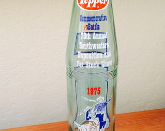 1975 Dr Pepper Bull Riding Soda Bottle, Commemorative Bottle Annual Southwestern Exposition and Fat Stock Show