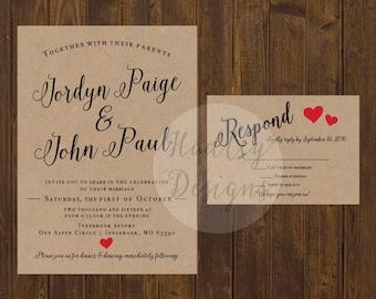 Rustic Country Wedding Invitation, Western wedding invitation, Kraft wedding invitation, wedding invitation rustic, Vintage invitation