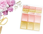 SBC August Faux Glitter Habit Trackers -- Matte Planner Stickers