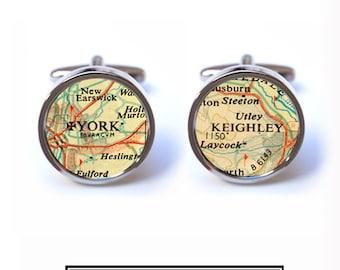 Personalised Map Cufflinks - Vintage Map Cufflinks - Wedding Groomsmen Cufflinks