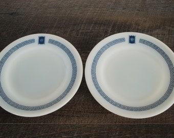 Vintage Pyrex Bradford House Plates / Salad Plate / Dessert Plate / Blue Pyrex / Greek Key / Pyrex Dinnerware / Pyrex Tableware