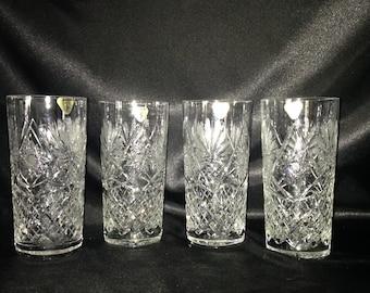 Vintage Cut Crystal Glass Tumblers,SARA cut crystal tumblers with original tag,Vintage crystal glassware tumblers,SARA crystal glassware