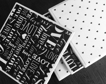 Black and White Love Coaster Set of 4