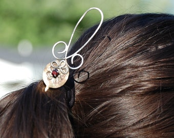 Renaissance hair jewelry -  Bronze Sterling silver and Garnet - Wedding hair piece - Originally designed - One of a kind - Eyes of Merlin