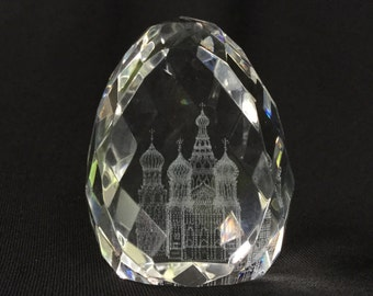 Minature Crystal Egg w/ Laser Image of St Basil's Cathederal, Moscow Russia