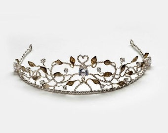 Tiara, sterling silver and 18 K gold plated leaves with cubic zirconia.  Fully handsculpted.