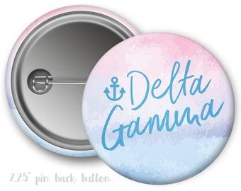 """DG Delta Gamma Watercolor Script Single or Bulk 2.25"""" Pinback Button"""