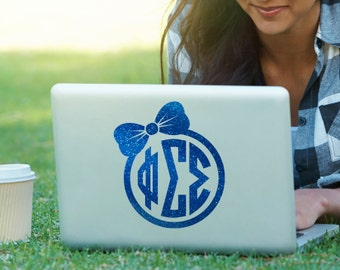 PhiSig Phi Sigma Sigma Bow Monogram Decal Sorority Decal Laptop Sticker Car Decal