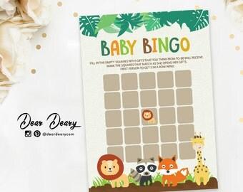 Safari Baby Shower Game, Safari Baby Shower Bingo, Printable Safari Baby Shower, Gender Neutral Bingo - INSTANT DOWNLOAD B008