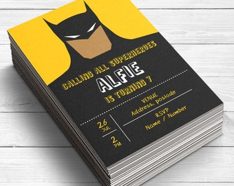 Batman Invitations, Batman Birthday Invitations, Boys Invitations, Batman Party Supplies, Superhero Party Invite, Batman, Flat card, Printed