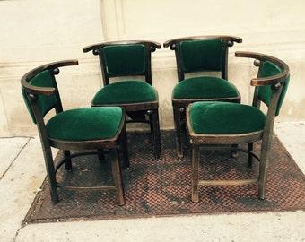 4 JOSEF HOFFMANN FLEDERMAUS chairs, beautiful comfort original upholstery