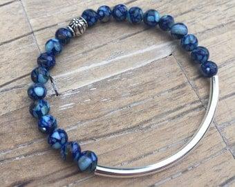 Blue Mosaic Curve Bracelet