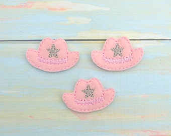 Cowgirl hat feltie - Hat feltie - Cowgirl bow center - Embroidered cowgirl hat  - Scrap booking cowgirl - Cowgirl hair bow - Cowgirl hat bow