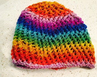 Rainbow lace cap