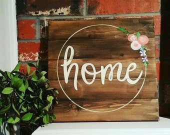 Home handpainted wood sign